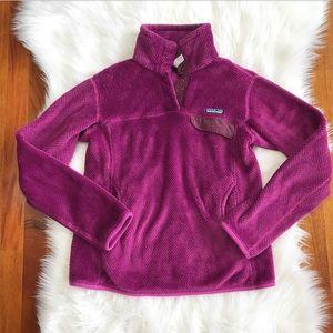 {Patagonia} Magenta Button Snap Fleece